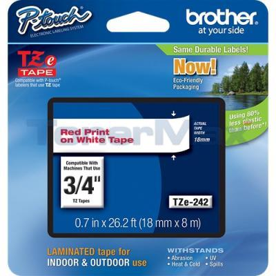 BROTHER TZ LAMINATED TAPE RED ON WHITE 0.7 IN X 26.2 FT